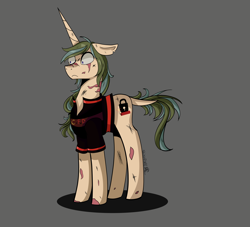 Size: 4400x4000 | Tagged: source needed, safe, artist:shirofluff, idw, oc, oc only, oc:scorcher, ghoul, pony, undead, unicorn, fallout equestria, canterlot ghoul, comic style, simple background