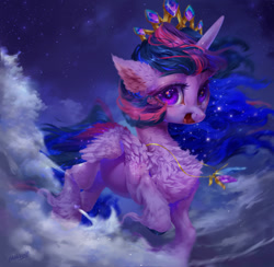 Size: 1153x1124 | Tagged: safe, artist:maggephah, twilight sparkle, alicorn, pony, chest fluff, cloud, colored wings, colored wingtips, crown, ear fluff, ethereal mane, female, fluffy, hoof fluff, jewelry, long feather, looking at you, mare, necklace, new crown, regalia, solo, starry eyes, starry mane, twilight sparkle (alicorn), unshorn fetlocks, wingding eyes