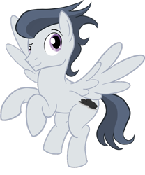 Size: 1000x1200 | Tagged: safe, artist:sixes&sevens, rumble, pegasus, pony, cutie mark, digital art, flying, looking at you, male, older, older rumble, simple background, solo, stallion, tail, transparent background, wings