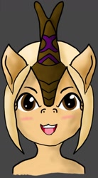 Size: 900x1633 | Tagged: safe, artist:lyndrewsomethin, oc, oc:fokko, kirin, blonde hair, brown eyes, happy, smiling