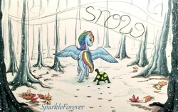 Size: 1280x810 | Tagged: safe, artist:sparkleforever, rainbow dash, tank, pony, tortoise, hoofprints, inktober, inktober 2019, leaves, pet, snow, text, tree
