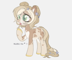 Size: 1006x846 | Tagged: safe, artist:maddown, oc, oc only, unnamed oc, earth pony, pony, colored hooves, female, flower, flower in hair, gasp, gray background, hair bun, open mouth, raised hoof, simple background, solo