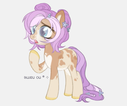 Size: 503x423 | Tagged: safe, alternate version, artist:maddown, oc, oc only, unnamed oc, earth pony, pony, colored hooves, female, flower, flower in hair, gasp, gray background, hair bun, open mouth, raised hoof, simple background, solo