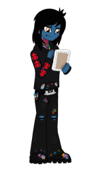 Size: 1440x2560 | Tagged: safe, artist:iamsheila, equestria girls, belt, boots, bring me the horizon, canvas, clothes, commission, drop dead clothing, equestria girls-ified, holding, hoodie, jeans, lip piercing, looking down, male, oliver sykes, paint, paint stains, paintbrush, painting, pants, piercing, ripped jeans, seatbelt belt, shoes, simple background, solo, tattoo, transparent background