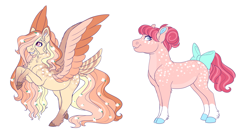 Size: 3355x1800 | Tagged: safe, artist:uunicornicc, oc, oc only, earth pony, pegasus, pony, bow, colored wings, female, magical lesbian spawn, mare, multicolored wings, offspring, parent:apple bloom, parent:diamond tiara, parent:fluttershy, parent:rainbow dash, parents:diamondbloom, parents:flutterdash, simple background, tail bow, white background, wings