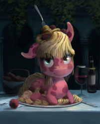 Size: 955x1188 | Tagged: safe, artist:bakuel, food pony, original species, pony, alcohol, food, fork, looking at you, meatballs, pasta, plate, ponified, spaghetti, wine