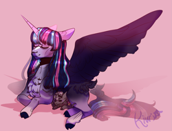 Size: 2103x1600 | Tagged: safe, artist:kiwigoat-art, twilight sparkle, oc, oc:paradox, alicorn, draconequus, hybrid, pony, chest fluff, eyes closed, female, interspecies offspring, lying down, male, mare, mother and child, mother and son, offspring, parent:discord, parent:twilight sparkle, parents:discolight, redesign, spread wings, twilight sparkle (alicorn), wings