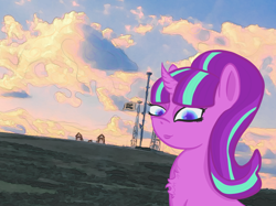 Size: 1200x899 | Tagged: safe, artist:oldlunarlight, starlight glimmer, pony, unicorn, the cutie map, chest fluff, cloud, cloudy, edited photo, equal sign, female, looking at you, mare, our town, s5 starlight, solo