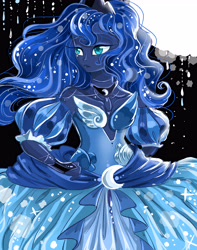 Size: 3700x4700 | Tagged: safe, artist:mrrowerscream, princess luna, human, absurd resolution, bare shoulders, clothes, detached sleeves, dress, female, humanized, pony coloring, solo