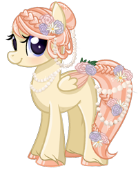 Size: 800x1000   Tagged: safe, artist:xbeautifuldreamerx, oc, oc only, oc:pearl birthstone, pegasus, pony, female, flower, flower in hair, flower in tail, jewelry, mare, necklace, pearl necklace, simple background, solo, transparent background, unshorn fetlocks