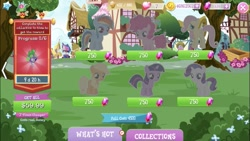 Size: 667x375 | Tagged: safe, screencap, applejack, fluttershy, pinkie pie, rainbow dash, rarity, twilight sparkle, earth pony, pegasus, pony, unicorn, costs real money, crack is cheaper, female, filly, foal, gameloft, gem, greedloft, mane six