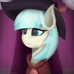 Size: 3000x3000 | Tagged: safe, artist:graphictoxin, coco pommel, rarity, earth pony, pony, unicorn, absurd resolution, bow, carousel boutique, clothes, coat, cocobetes, costume, curtains, cute, detective rarity, fedora, glowing eyes, hat, lineless, noir, outfit, reflection, smiling, solo, vignette
