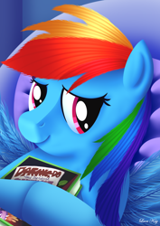 Size: 2480x3508 | Tagged: safe, artist:leonkay, rainbow dash, pegasus, pony, book, daring do and the sapphire statue, daring do book, female, high res, hug, mare, pillow, smiling, solo