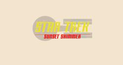 Size: 2034x1080 | Tagged: safe, artist:jrshinkansenhorse, derpibooru exclusive, sunset shimmer, crossover, logo, spaceship, star trek, star trek: sunset shimmer, starship, uss sunset shimmer