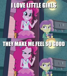 Size: 853x960 | Tagged: safe, edit, edited screencap, screencap, lily pad (equestria girls), pinkie pie, equestria girls, equestria girls series, pinkie sitting, caption, creepy, creepy pie, creepy smile, image macro, implied pedophilia, oingo boingo, smiling, song reference, text, this will end in pain