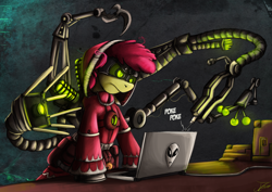 Size: 1500x1060 | Tagged: safe, artist:jamescorck, apple bloom, earth pony, pony, adeptus mechanicus, alienware, annoyed, clothes, computer, crossover, female, laptop computer, mare, mechadendrites, older, robe, solo, techpriest, warhammer (game), warhammer 40k