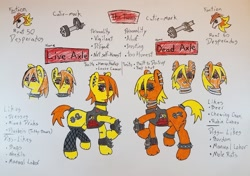 Size: 1024x721 | Tagged: safe, artist:dice-warwick, earth pony, pony, fallout equestria, biker chick, biker jacket, choker, clothes, cracked hooves, ear piercing, fallout equestria: desperados, neck rings, piercing, scared, socks, spiked anklets, spiked choker, spiked tail tie, thigh highs, twins