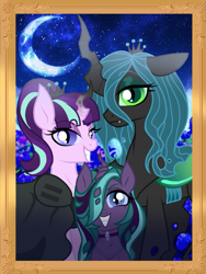 Size: 673x896 | Tagged: safe, artist:unoriginai, queen chrysalis, starlight glimmer, oc, oc:nymphalidae, changeling, changeling queen, hybrid, the cutie map, alternate universe, crown, cute, cutealis, equal sign, female, framed picture, glimmerlis, goddamnit unoriginai, jewelry, lesbian, looking at you, magical lesbian spawn, offspring, parent:queen chrysalis, parent:starlight glimmer, parents:glimmerlis, regalia, shipping, tiara