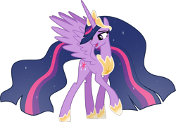 Size: 4347x3026 | Tagged: safe, artist:helenosprime, twilight sparkle, alicorn, pony, the last problem, crown, female, hoof shoes, jewelry, looking back, mare, older, older twilight, open mouth, peytral, princess twilight 2.0, raised hoof, regalia, simple background, solo, spread wings, transparent background, twilight sparkle (alicorn), vector, wings