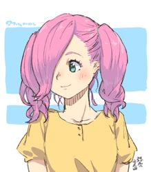 Size: 1051x1200 | Tagged: safe, artist:yanamosuda, fluttershy, human, abstract background, bust, clothes, cute, dress, hair over one eye, humanized, shyabetes, smiling, solo