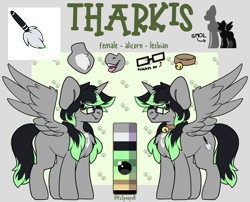 Size: 3100x2500 | Tagged: safe, artist:itsspoopsb, oc, oc only, oc:tharkis, alicorn, pony, bell, bell collar, collar, fangs, female, glasses, mare, pigtails, reference sheet, smol, twintails