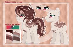 Size: 5112x3318 | Tagged: safe, artist:2pandita, oc, oc:yuma, earth pony, pony, male, reference sheet, solo, spanish, stallion