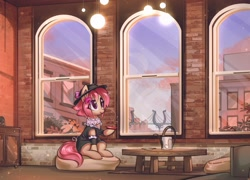 Size: 3024x2172 | Tagged: safe, artist:mirroredsea, oc, oc only, earth pony, pony, bridge, city, clothes, commission, female, flower, flower in hair, hat, high res, indoors, manehattan, mare, shirt, sitting, solo, table