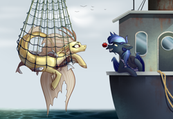 Size: 1730x1200 | Tagged: safe, artist:28gooddays, adagio dazzle, oc, oc:sonic lullaby, bat pony, bird, fish, pony, seagull, siren, bat pony oc, bat wings, boat, canon x oc, clothes, cloud, commission, female, fishing, fishing boat, fishing net, flower, flower in mouth, hat, lesbian, looking at each other, mare, mouth hold, net, ocean, odd love?, rope, rose, rose in mouth, sailor, sky, sonicdazzle, surprised, tanktop, water, wet, wings, ych result