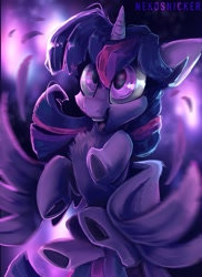 Size: 1491x2048 | Tagged: safe, artist:nekosnicker, twilight sparkle, alicorn, pony, blurry background, chest fluff, cute, feather, female, fireworks, flying, open mouth, painterly, solo, spread wings, twiabetes, twilight sparkle (alicorn), wings