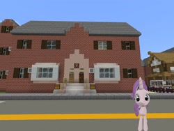 Size: 2048x1536 | Tagged: safe, artist:topsangtheman, starlight glimmer, pony, unicorn, 3d, bus, female, house, looking at you, minecraft, photoshopped into minecraft, solo, source filmmaker