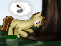 Size: 1800x1350 | Tagged: safe, artist:99999999000, oc, oc:zhang cathy, earth pony, insect, pony, container, cute, female, filly, shovel, solo, tree, younger