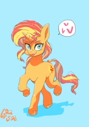Size: 700x1000 | Tagged: safe, artist:sozglitch, sunset shimmer, pony, unicorn, blue background, cute, female, heart, looking at you, mare, open mouth, pictogram, shimmerbetes, simple background, solo, speech bubble, unshorn fetlocks