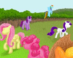 Size: 1000x800 | Tagged: safe, artist:not-think, applejack, fluttershy, pinkie pie, rainbow dash, rarity, twilight sparkle, earth pony, pegasus, pony, unicorn, fanfic:nightmares and daydreams, fanfic art, female, mane six, mare, no face, unicorn twilight