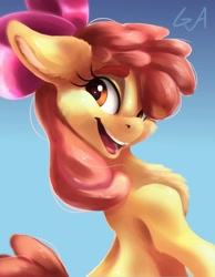 Size: 3186x4096 | Tagged: safe, artist:artsgalinn, artist:galinn-arts, apple bloom, earth pony, pony, adorabloom, chest fluff, cute, ear fluff, female, filly, fluffy, happy, looking at you, looking back, solo, thick eyebrows, tooth gap