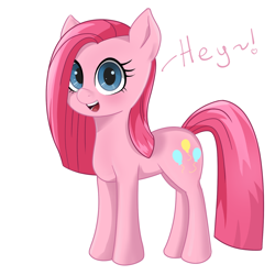 Size: 1200x1200 | Tagged: safe, artist:tenklop, pinkie pie, earth pony, pony, cute, cuteamena, female, mare, pinkamena diane pie, simple background, smiling, solo, talking to viewer, white background