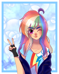 Size: 913x1134   Tagged: safe, artist:latashixd, rainbow dash, human, abstract background, clothes, female, fingerless gloves, gloves, humanized, jacket, off shoulder, one eye closed, peace sign, shirt, signature, smiling, solo, speedpaint available, t-shirt, wink