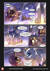 Size: 3541x5016 | Tagged: safe, artist:freeedon, artist:lummh, oc, oc only, oc:appolonia, oc:selendis, original species, pony, unicorn, comic:the lost sun, absurd resolution, blizzard, body markings, collaboration, comic, duo, face markings, female, magicorn, mare, patreon, patreon logo, snow, snowfall, speech bubble, winter
