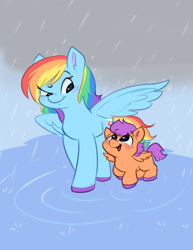 Size: 500x647 | Tagged: safe, artist:qt-galaxy, rainbow dash, scootaloo, pegasus, pony, blank flank, colored hooves, cute, cutealoo, dashabetes, duo, female, filly, mare, open mouth, rain, scootalove, wet mane, wing shelter