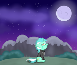 Size: 2505x2115 | Tagged: safe, artist:background basset, derpibooru exclusive, lyra heartstrings, unicorn, fanfic:background pony, clothes, crying, dig the swell hoodie, edgy, hoodie, moon, solo