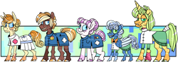 Size: 3039x1073 | Tagged: safe, artist:spuds-mcfrenzy, oc, oc:fluffy clouds, oc:mr. corn, oc:page turner, oc:sweet heart, oc:zoe loft, earth pony, pegasus, pony, unicorn, female, male, mare, next generation, offspring, parent:carrot cake, parent:cup cake, parent:derpy hooves, parent:doctor whooves, parents:carrot cup, parents:doctorderpy, simple background, stallion, transparent background