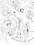 Size: 2448x3264 | Tagged: safe, artist:techwingidustries, princess luna, oc, oc:selene, alicorn, bird, owl, unicorn, wolf, castle, female, pathway, rock, solar system, tree