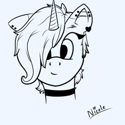 Size: 3000x3000 | Tagged: safe, artist:nicole_, oc, oc:nicole, pony, unicorn, femboy, male, monochrome, solo