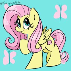 Size: 800x800 | Tagged: safe, artist:mirabuncupcakes15, fluttershy, pegasus, pony, female, folded wings, looking at you, mare, raised hoof, smiling, solo, standing, three quarter view, wings