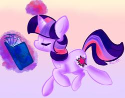 Size: 890x700   Tagged: safe, artist:5birds1999, twilight sparkle, pony, unicorn, book, cute, eyes closed, female, magic, mare, profile, solo, telekinesis, twiabetes, unicorn twilight