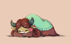 Size: 1890x1164 | Tagged: safe, artist:buttersprinkle, yona, yak, bow, buttersprinkle is trying to murder us, cloven hooves, cute, eyes closed, female, hair bow, monkey swings, pink background, prone, simple background, sleeping, solo, sweet dreams fuel, weapons-grade cute, yonadorable