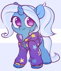 Size: 1868x2160 | Tagged: safe, artist:vensual99, trixie, pony, unicorn, abstract background, babysitter trixie, clothes, cute, diatrixes, female, gameloft, gameloft interpretation, hoodie, mare, no pupils, pigtails, smiling, solo