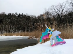 Size: 2048x1517 | Tagged: safe, photographer:pakapaka1993, princess celestia, irl, photo, plushie, snow, solo