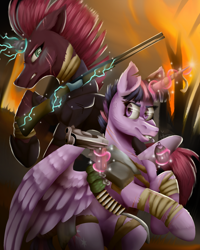 Size: 1600x2000 | Tagged: safe, artist:lordofthefeathers, fizzlepop berrytwist, tempest shadow, twilight sparkle, alicorn, pony, unicorn, alternate hairstyle, apocalypse, armor, bandage, bandolier, bipedal, broken horn, bullet, chest fluff, double barreled shotgun, duo, ear fluff, female, fire, glowing horn, grenade, grin, gun, handgun, hoof shoes, horn, levitation, magic, mare, pistol, scar, shotgun, smiling, sparking horn, telekinesis, twilight sparkle (alicorn), weapon