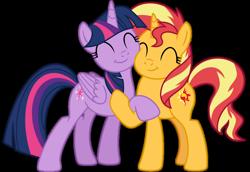 Size: 1024x703   Tagged: safe, artist:emeraldblast63, sunset shimmer, twilight sparkle, alicorn, pony, unicorn, cute, duo, female, hug, mare, shimmerbetes, simple background, squishy cheeks, transparent background, twiabetes, twilight sparkle (alicorn)