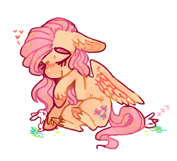 Size: 437x396 | Tagged: safe, artist:ditzyshipper, fluttershy, pegasus, pony, rabbit, animal, cute, eyes closed, female, floppy ears, heart, mare, shyabetes, simple background, sitting, solo, unshorn fetlocks, white background